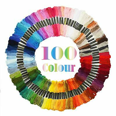 100 Stitch Cotton Embroidery Thread Floss / Skeins Cross Stitch ASSORTED COLOR