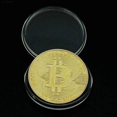 4279 Gold Bitcoin Plated Coin Virtual Money Collection Collectible