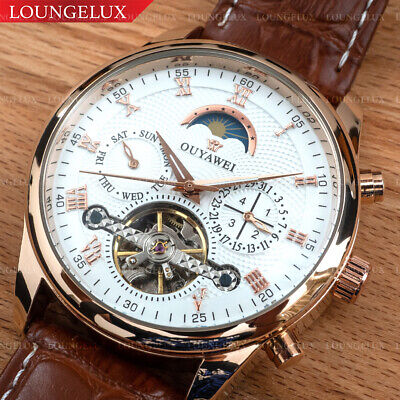 NEW Mens Luxury Skeleton Automatic Mechanical Leather Wrist Watch Moon Phase