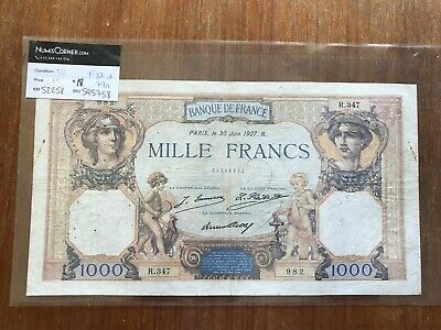 Rare 1927 French 1000 Franc Banknote, Mille Francs, Ceres of Mercure. 1298