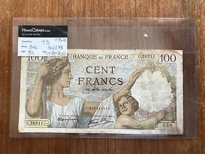 1941 100 Franc French Large Scarce Fayette. VF. 1302