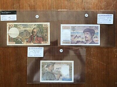 3x French banknotes 10+20 Francs. VG condition. 1309