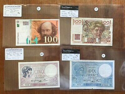 4x scarce vintage French banknotes. 1310