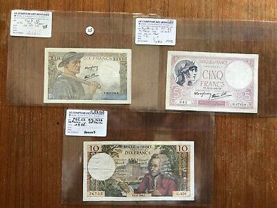 3x French vintage banknotes. 1311