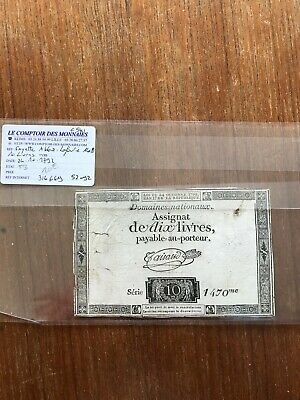 Assignat 10x Livres 1790 French banknote. 1321
