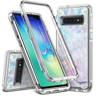 Heavy Duty Full Body White-Frame Bumper Case Cover For Galaxy S10 S10 Plus
