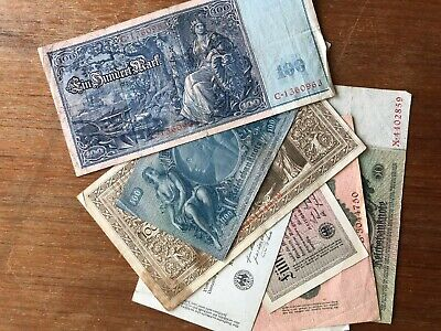 9x WW1 German banknotes. 1378