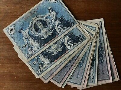14x Germany 1908 Berlin 100 mark banknotes. Large lot. 1389