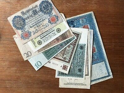 9x 1920s German Banknotes. 1405