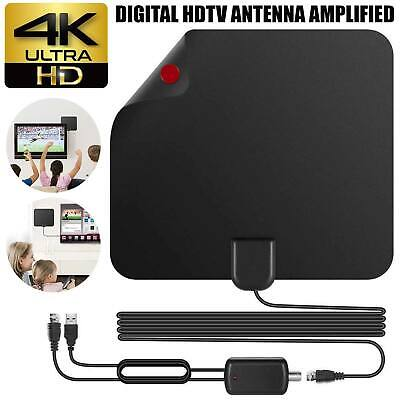 Digital HDTV Freeview Antenna Indoor with TV Aerial Amplifier 80 Mile Range Thin