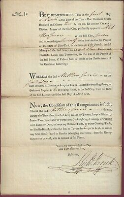 Richard Varick, Revolutionary Patriot, Signed Document, March 4, 1796, COA
