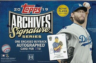 (1) 2019 Topps Archives Signature Series Active Player Edition Hobby Box 1 AUTO