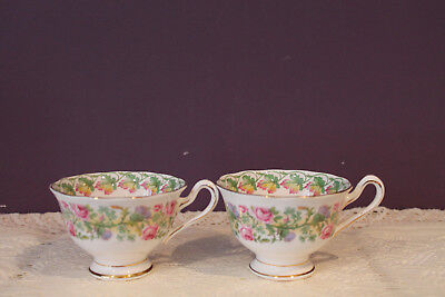 2 Royal Albert Crown China 'Loyalty ' Tea Cups - Made In England