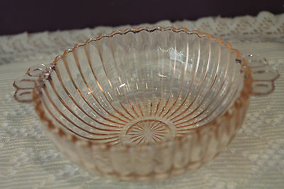 Small Pink Depression Glass Handled Bowl
