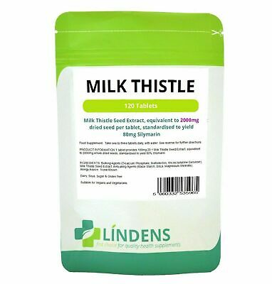 MILK THISTLE SEED EXTRACT 2000MG 120 TABLETS LIVER HEALTH  DETOX  80% Silymarin