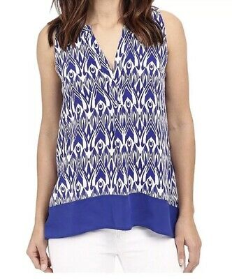 HATLEY Sleeveless Tunic Top Shirt Navy & WhitE Classic Sz M  Medium EUC