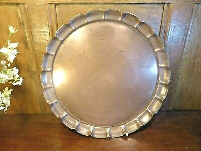 """ARTS & CRAFTS/ART NOUVEAU copper TRAY with FLUTED EDGE BY JOSEPH SANKEY 13.5"""""""