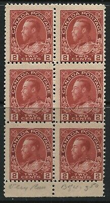 Canada KGV 1911 Admiral 2 cents unmounted mint NH block of 6