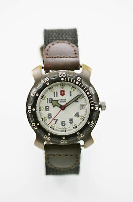 Swiss Army Watch Mens 24hr Date Stainless Silver Nylon Black Brown Leather 166ft