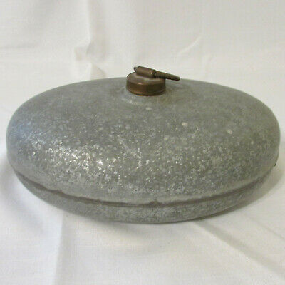 Antique Zinc Oval Football Shaped Hot Water Bottle Bed Warmer with Brass Top