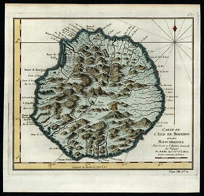 Isle de Bourbon Reunion Island 1750 Bellin island map lovely hand color