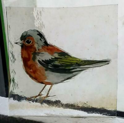 Stained Glass Chaffinch bird -  Kiln fired transfer fragment bird pane!