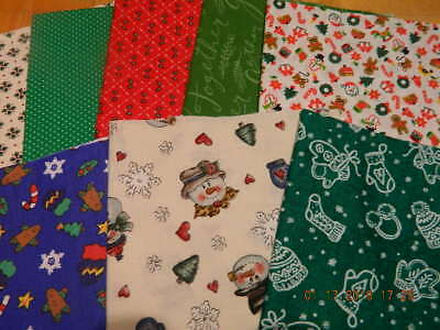 Free Shipping! Lot-8 Christmas Fabric Fat Quarters Sewing Crafts Print Cottons