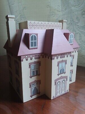 "Windfield Designs Large Pink Mansion Wooden Bank Signed ""H. Musser 1989"""