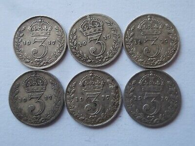 *AR* GB Lot of 6 0.925 Sterling Silver Threepence George V Great War 1917