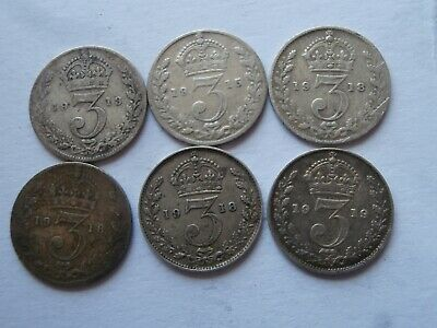 *AR* GB Lot of 6 0.925 Sterling Silver Threepence George V Mixed Dates 1913-1919