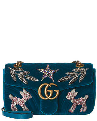 8eeda7104 GUCCI GG MARMONT Small Embroidered Velvet Shoulder Bag Women's Blue ...