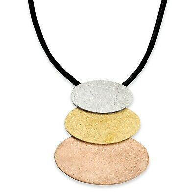 Stainless Steel Tri-Color IP-plated Ovals 20in w/ext Necklace