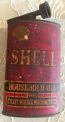 """VINTAGE SHELL """"HOUSEHOLD OIL CAN""""  1930's - 40's ?"""