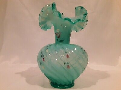 Vintage Fenton Blue Ribbon Top Hand-Painted Artist  & Don Fenton Signed