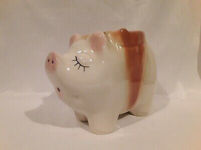 Vintage Shawnee Usa Ceramic Piggy Bank  Adorable With Brown Bow Perfect
