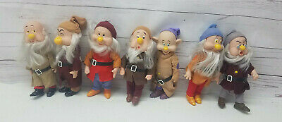 Vintage Complete Set of 7 Disney Bikin Snow White & The Seven Dwarfs Dolls