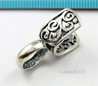 1x ANTIQUE STERLING SILVER PENDANT PINCH BAIL CLASP SLIDE CONNECTOR #3149