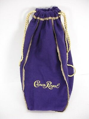 Crown Royal Purple Felt Bag With Gold Drawstring Stitched Embroidered Logo