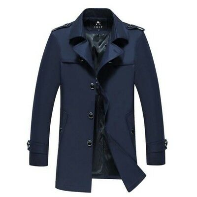 Men Spring Single Breasted Solid Business Lapel Leisure Mid Long Trench Coat New