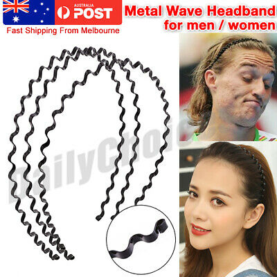 Men's Women Black Sports Wave Hair Band Metal/Plastic Hairband Headband Headwear