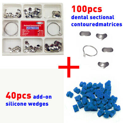 100Pc Dental Sectional Contoured Matrices Matrix Ring Delta + 40Pc Add-On Wedges