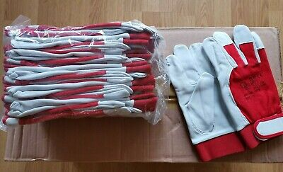 12 Pairs Leather Work Gloves with Velcro Sticker on Wrist White leather palm