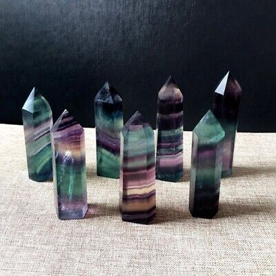 Natural Fluorite Crystal Quartz Stone Healing Amethyst Hexagonal Wand Point