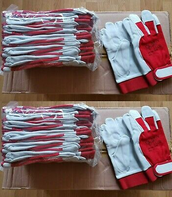 24 Pairs Leather Work Gloves with Velcro Sticker on Wrist White leather palm