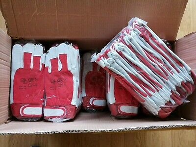 120 Pairs Leather Work Gloves with Velcro Sticker on Wrist White leather palm