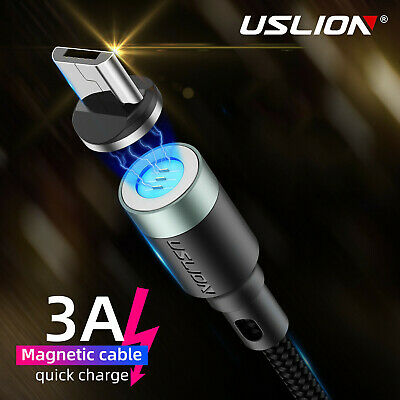 3A Magnetic Fast Charger Cable Braided Micro USB Data&Sync Charging For Android