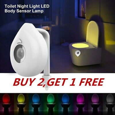 Color Changing LED Motion Activated Seat Auto Sensor Toilet Bathroom Night Light