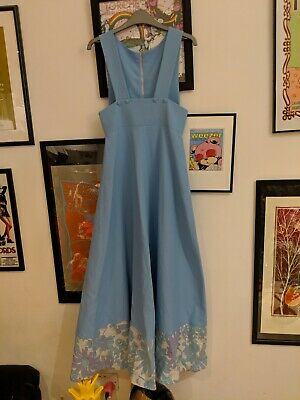 Vintage 60s/70s Quirky Pinafore Dress With Flower Print Hem Pastel Blue Size 8