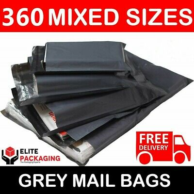 360 Mixed Pack Grey Mailing Bags Strong Poly Postal Postage Post Mail Self Seal