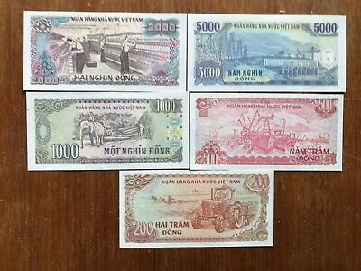 5x 1980s Vietnam banknotes high face value. 1495